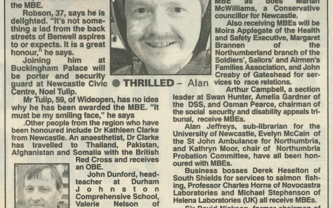 *Article* Alan Is Announced In The New Years Honours List