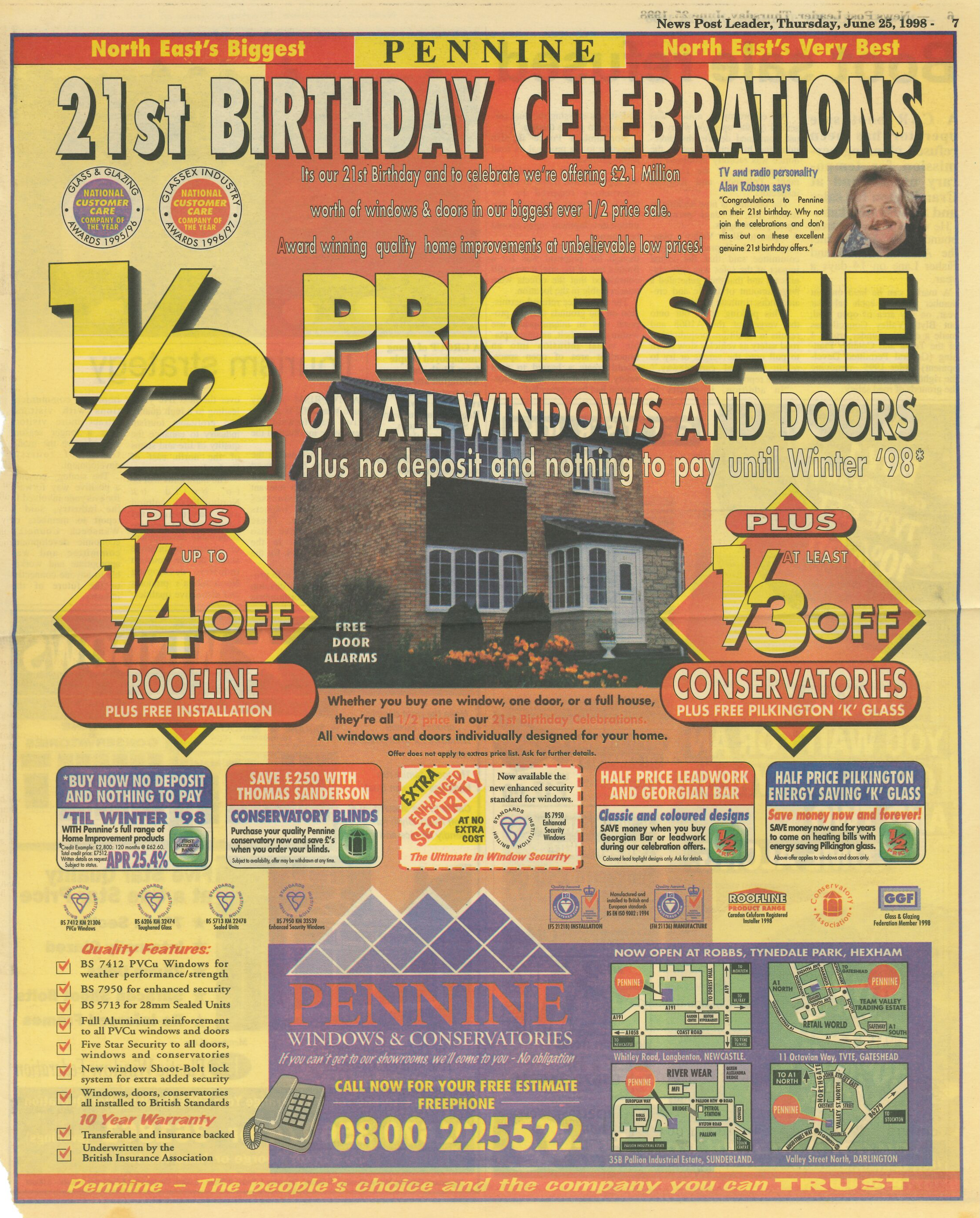 *Article* Alan Helps Celebrate Pennine Windows 21st Birthday
