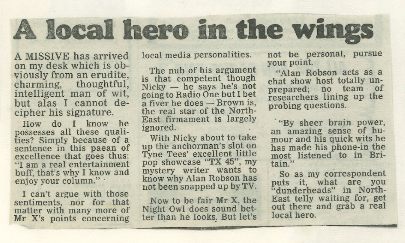 *Article* Local Hero In The Wings