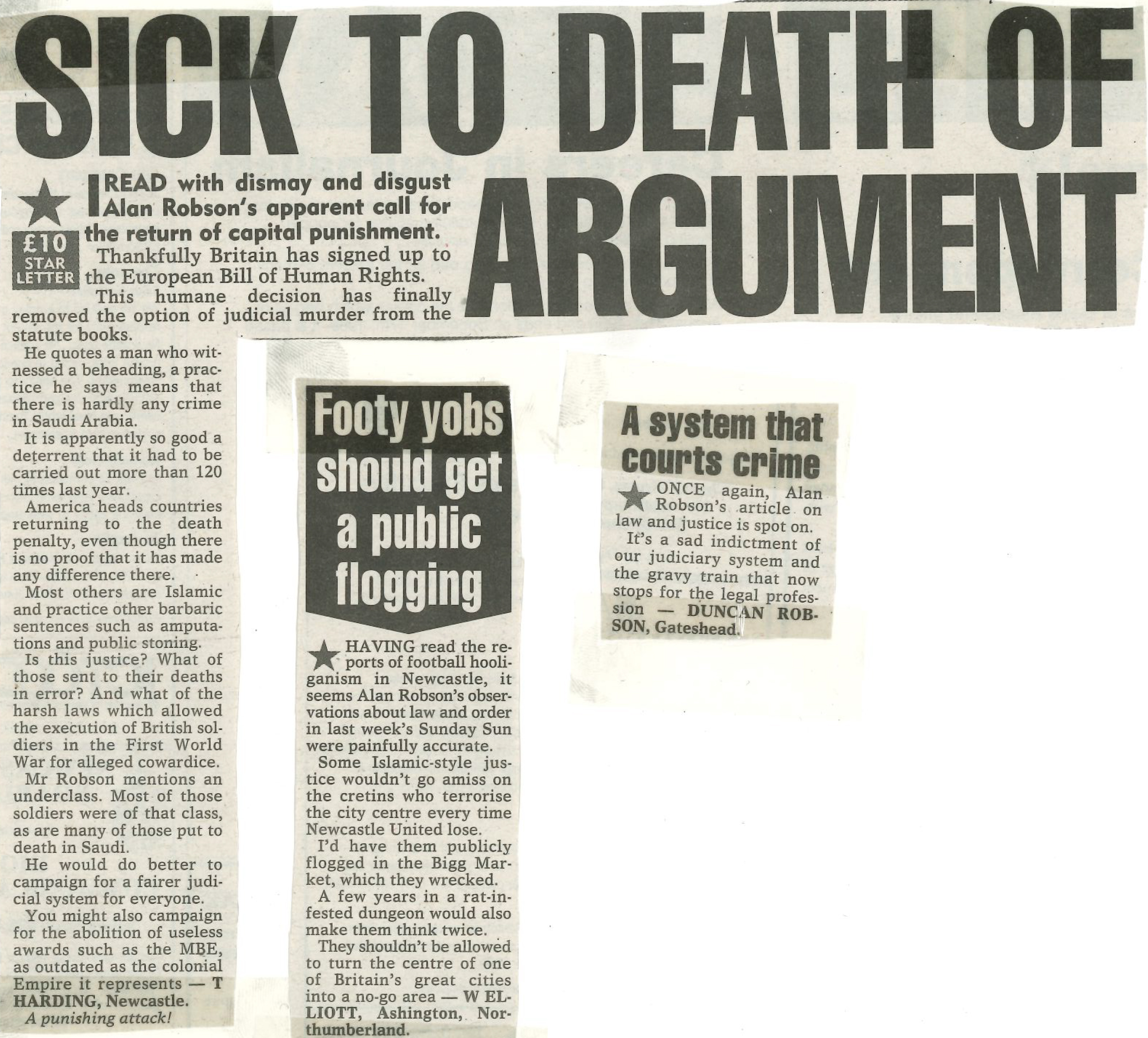 *Article* Sick To Death Of Argument