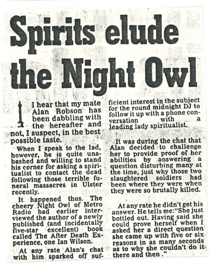 *Article* Spirits Elude The Night Owl