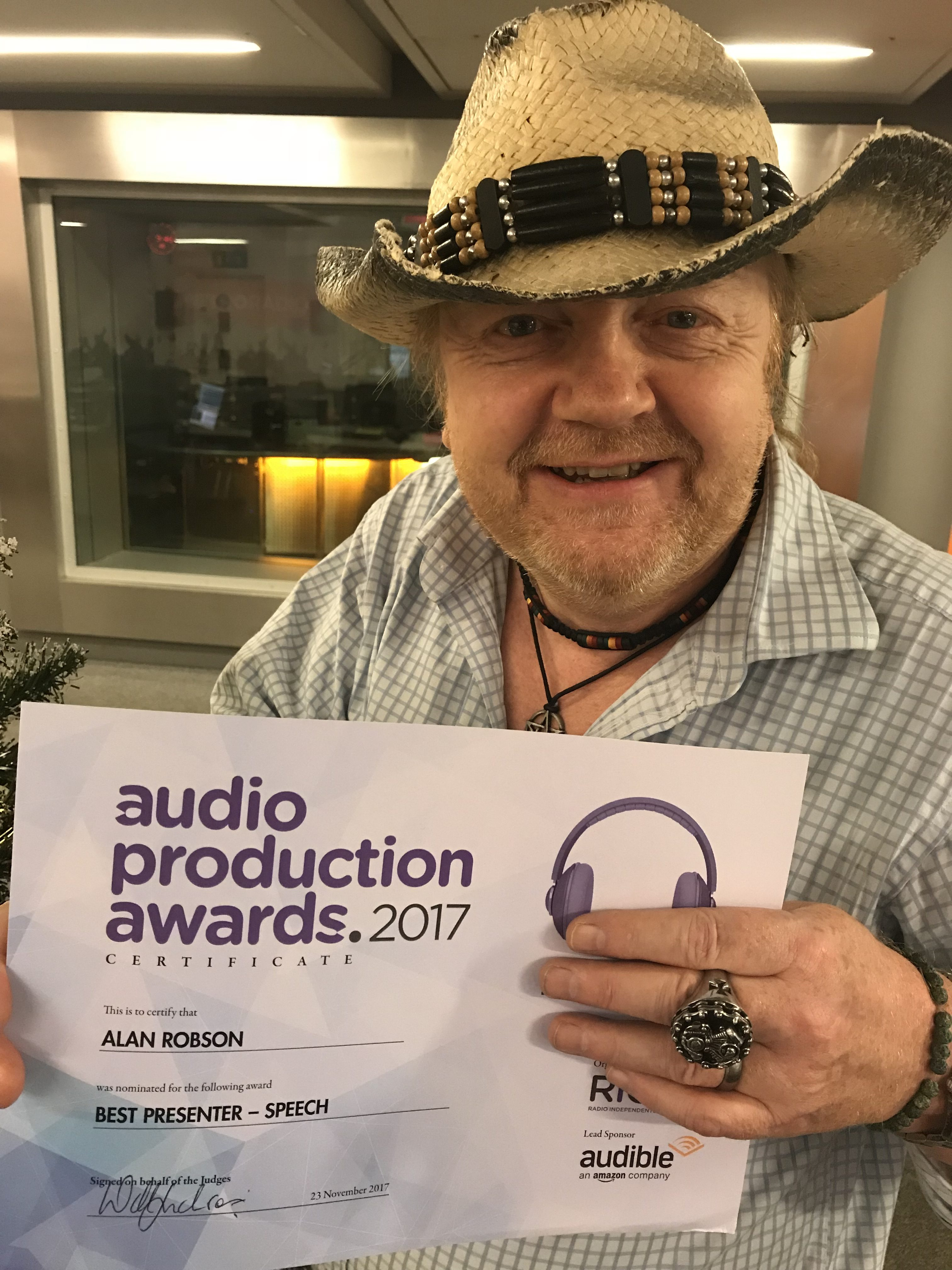 Alan Receives Nomination At Audio Production Awards